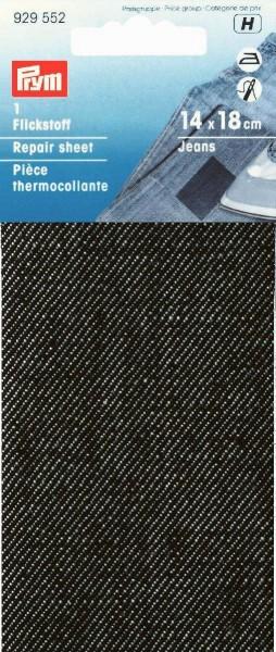 Flickstoff Jeans (bügeln) 12 x 45 cm schwarz