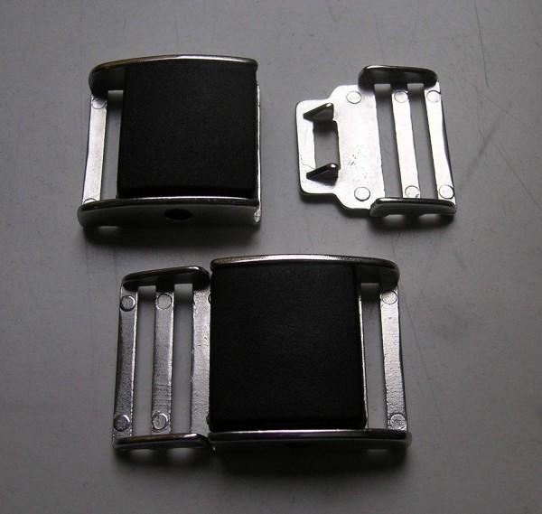 Bekleidungsverschluss silber schwarz 35 x 23mm
