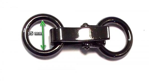 Bekleidungsverschluß alt silber mit Ring zum einhaken 60 x 20 mm