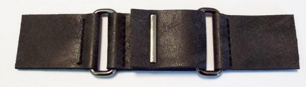 Bekleidungsverschluß antike Leder - Optik mit Druckknopf schwarz 140 x 30