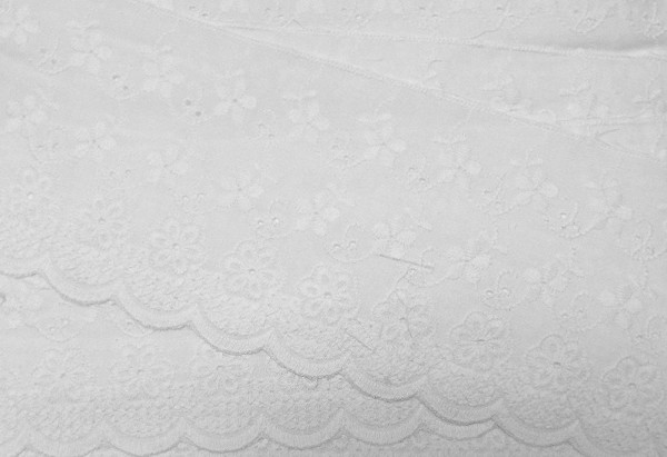 Baumwollspitze weiß mit Blütenranken fein Gestickt 95 mm breit