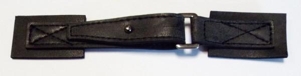 Bekleidungsverschluß antike Leder - Optik mit Dorn 140 x 25 mm (schwarz)