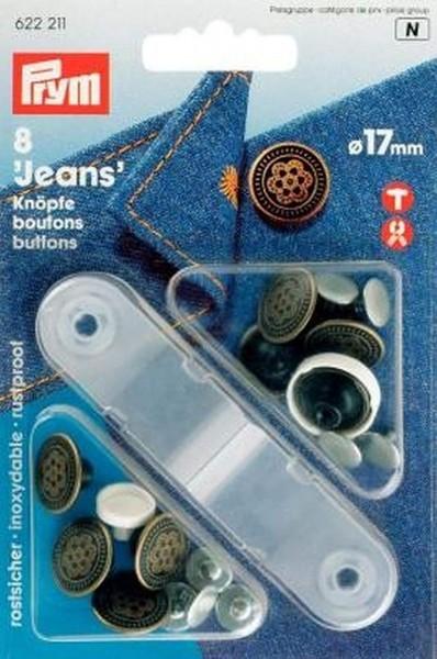 NF-Jeans-Knöpfe Blume MS 17 mm altmessing