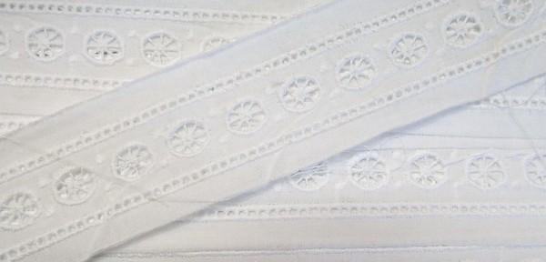 Baumwollespitze weiß, fein gestickt 35 mm