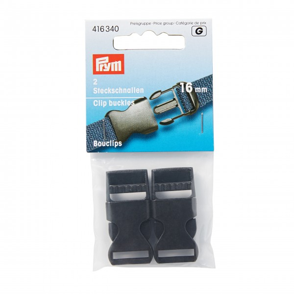 Steckschnallen stark Kunststoff 16 mm schwarz