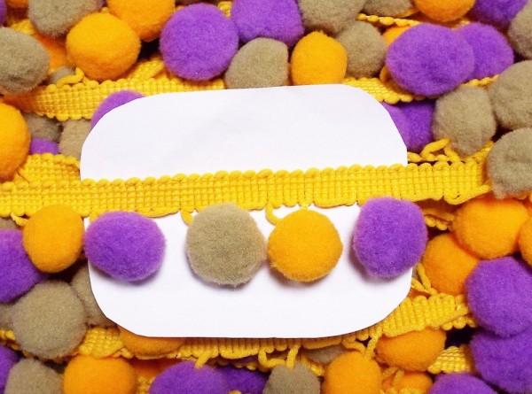 Pomponborte 30 mm Farbverlauf gelb violett beige