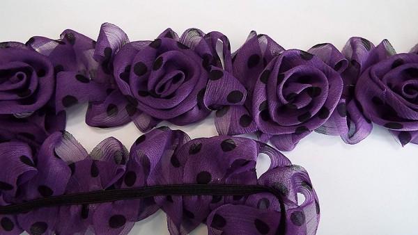Chiffon Rosenborte violett mit schwarzen Pünktchen 65 mm