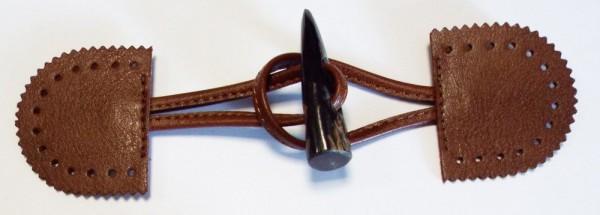 Knebelverschluß, mit dunkel braunem Knopf 170 mm x 45 mm (braun)