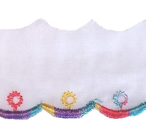 Baumwollspitze weiß-zart bunt 30 mm gestickt