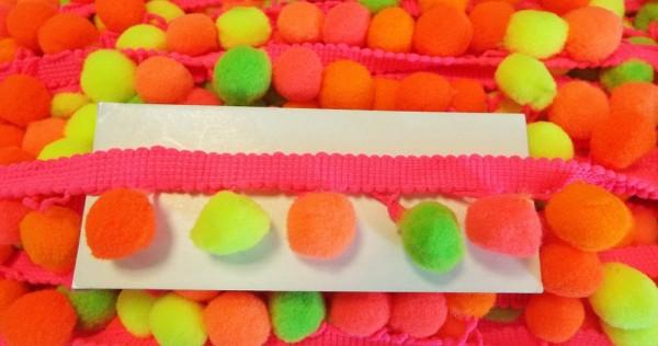 Pomponborte 30 mm Neon-Farben pink, orange, gelb, grün