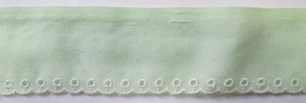 Baumwollspitze zart grün, mit weißer Bogenkante 45 mm