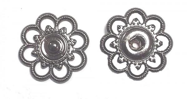 2 Druckknöpfe zum Annähen Metall Silber brüniert 25mm nickelfrei
