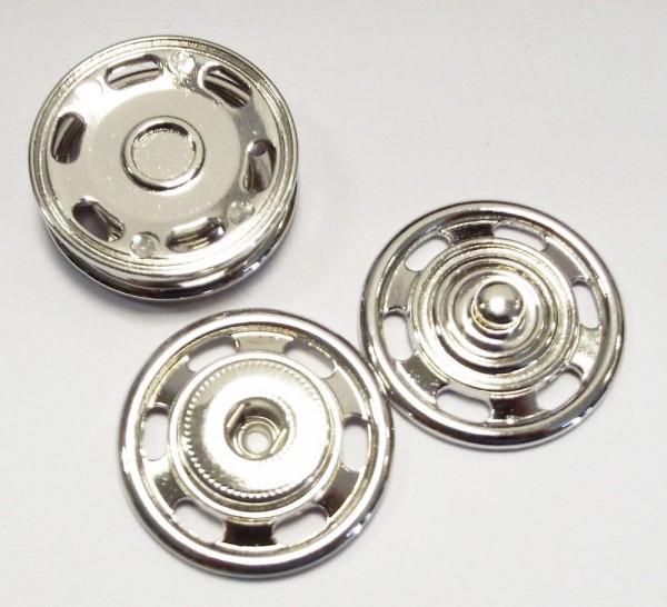 Druckknopf zum Annähen Metall silberfarben 30mm