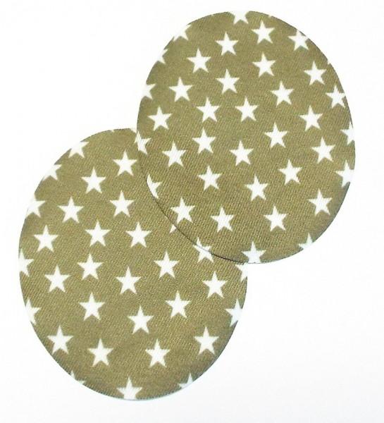 1 Paar Patches/Bügelflicken mit Sternen 90 x 75 mm khaki