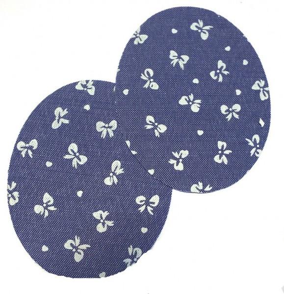 1 Paar Patches/Bügelflicken Jeans 85 x 65 mm (Schleifen)