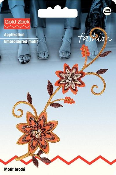 Applikation Blumenranke orange/braun mit Perlen