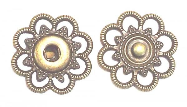 2 Druckknöpfe zum Annähen Metall altgold 18mm nickelfrei