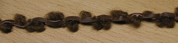 Borte Wollschlingen mit Kunstlederstreifen braun 12 mm