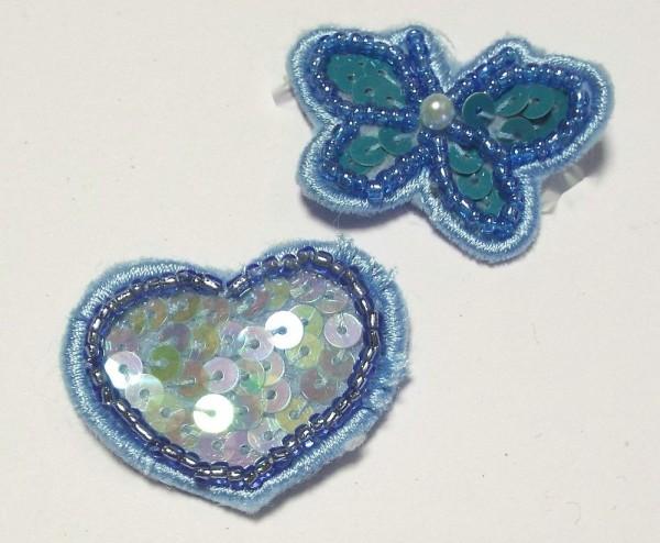 2 Applikationen Sortiment Herz und Schmetterling 35 x 30 mm