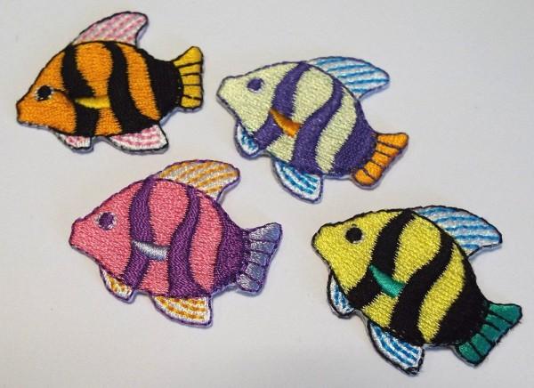 Applikationen Sortiment bunte Fische 35 x 35 mm 4 Stück