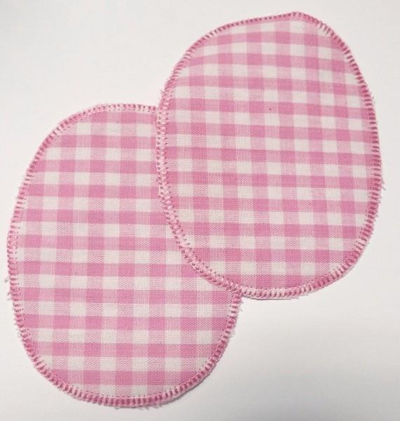 1 Paar Patches/Bügelflicken Karo rosa 11,5 x 9 cm