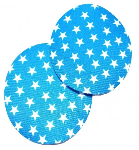1 Paar Patches/Bügelflicken mit Sternen 90 x 75 mm (türkis)