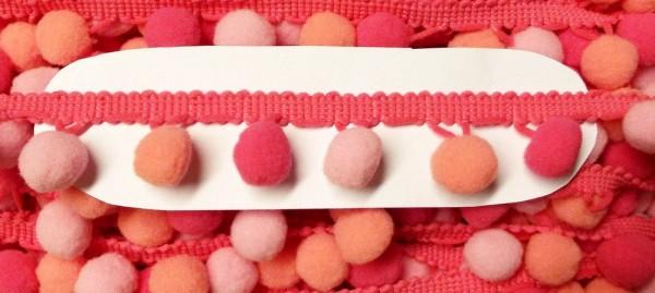 Pomponborte 30 mm Farbverlauf rosa pink apricot