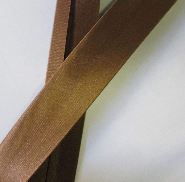 Satinschrägband mittel braun 20 mm