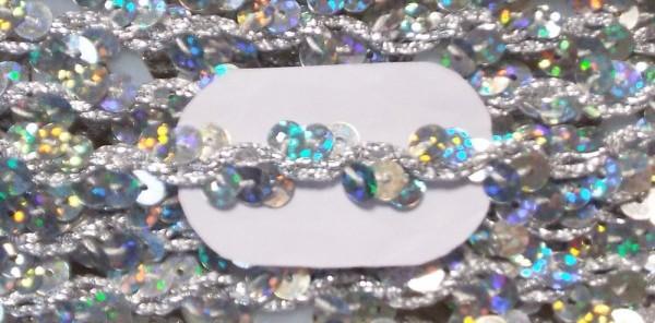 Paillettenborte silber holographisch 13 mm breit