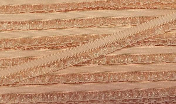 Wäschespitze/Wäscherüsche elastisch 15 mm apricot