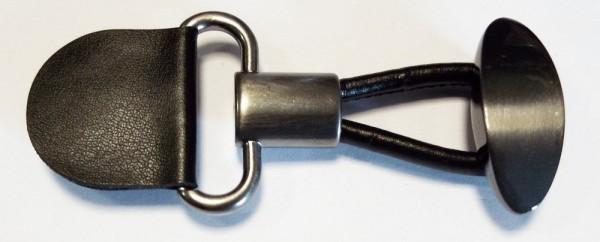 Bekleidungsverschluß schwarz / alt silber, Schlaufe mit Knopf 85 x 35 mm