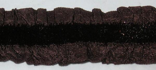 Elastische Rüsche mit Velour dunkelbraun 15 mm