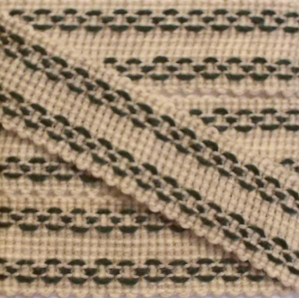 Wolltresse/Einfaßband 30 mm beige / grün