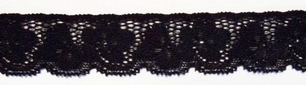 Dessousspitze elastisch 25 mm schwarz