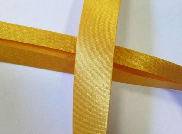 Satinschrägband sonnen gelb 20 mm