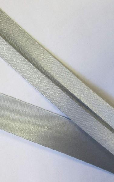 Satinschrägband silber 20 mm