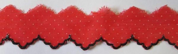 Baumwollspitze rot mit weißen Punkten und schwarzem Abschluß in 35 mm
