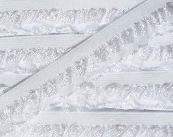 Wäschespitze elastisch 17 mm weiß mit Rüschenabschluß