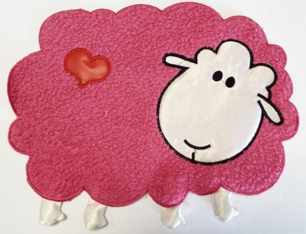 Applikation, Schaf pink / schwarz / weiß mit Herz 33 x 26 cm