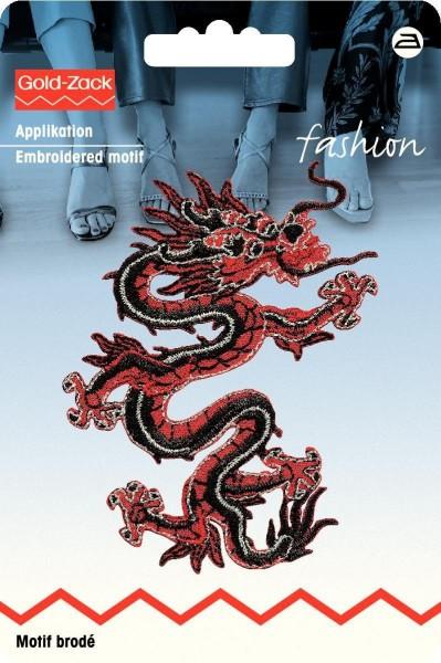 Applikation Asien Drache rot/schwarz