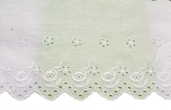 Baumwollspitze weiss mit Blümchen Stickerei 105 mm