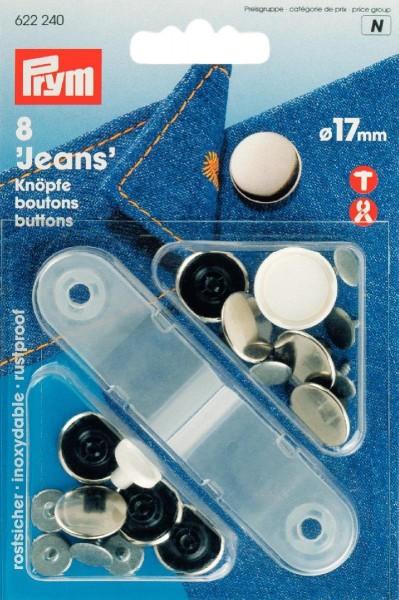 NF-Jeans-Knöpfe glatt MS 17 mm silberfarbig