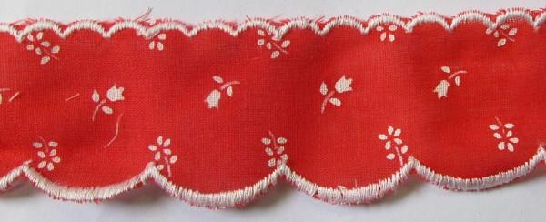 Baumwollspitze rot, weiß gestickte Bogenkante 40 mm