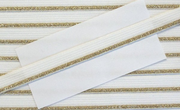 Wäschespitze elastisch 8 mm weiß/gold