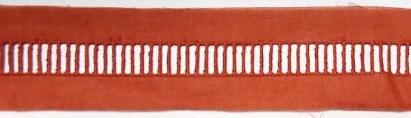 Baumwollspitze rost rot, fein gestickt 40 mm