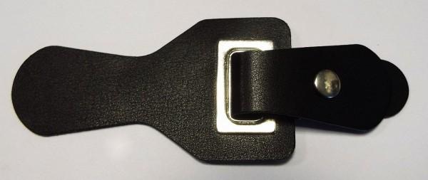 Bekleidungsverschluß Leder - Optik mit Dorn zum einhängen 130 x 50 mm