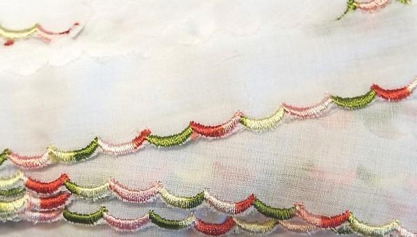 Baumwollspitze weiß mit bunter Bogenkante 25 mm