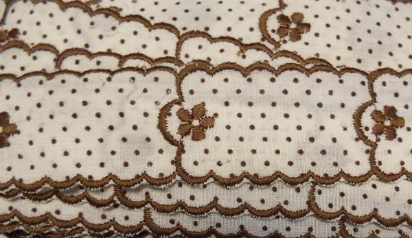 Baumwollspitze braun, fein gestickt mit Bogenkante 30 mm