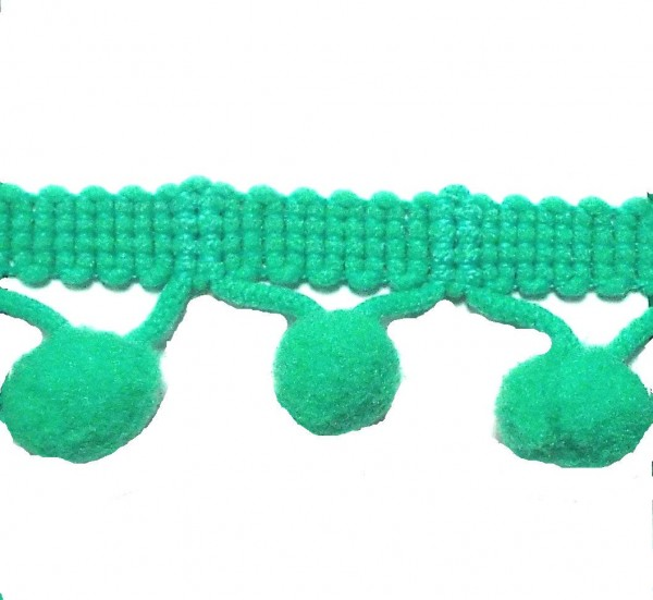 Pomponborte smaragd grün 20 mm