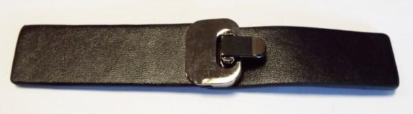 Bekleidungsverschluss zum umklappen 13,5 x 2,5 cm (schwarz / alt silber)